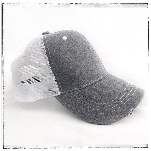 Distressed Cap White Mesh with Light Grey Denim