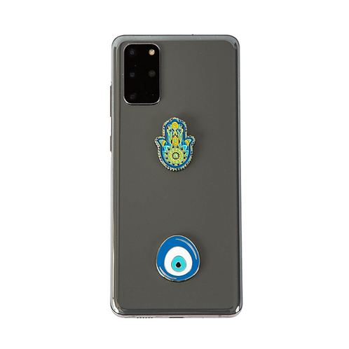 Blue Evil Eye and Hamsa Metal Sticker Charms Set of 2. Decoration for Phone Case