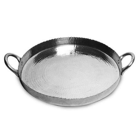"Beaten Aluminum tray with handles Medium size 14"""