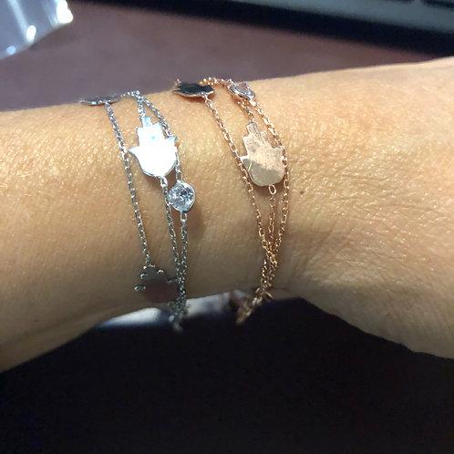 Triple strand Hamsa bracelet