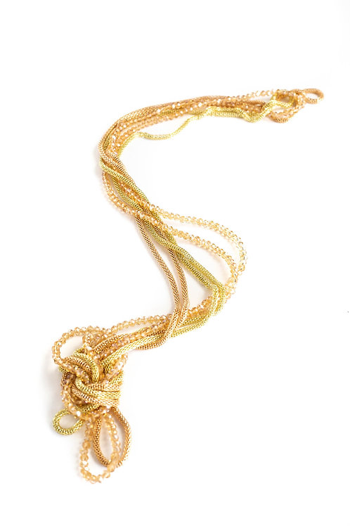 Gold Long Necklace Set of  Mesh Chain and Crystal Stretchy Strands
