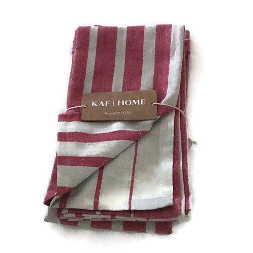 Cloth Napkin Set of 4 Chambray Pink and Beige stripe