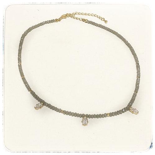 Grey bead hamsa necklace