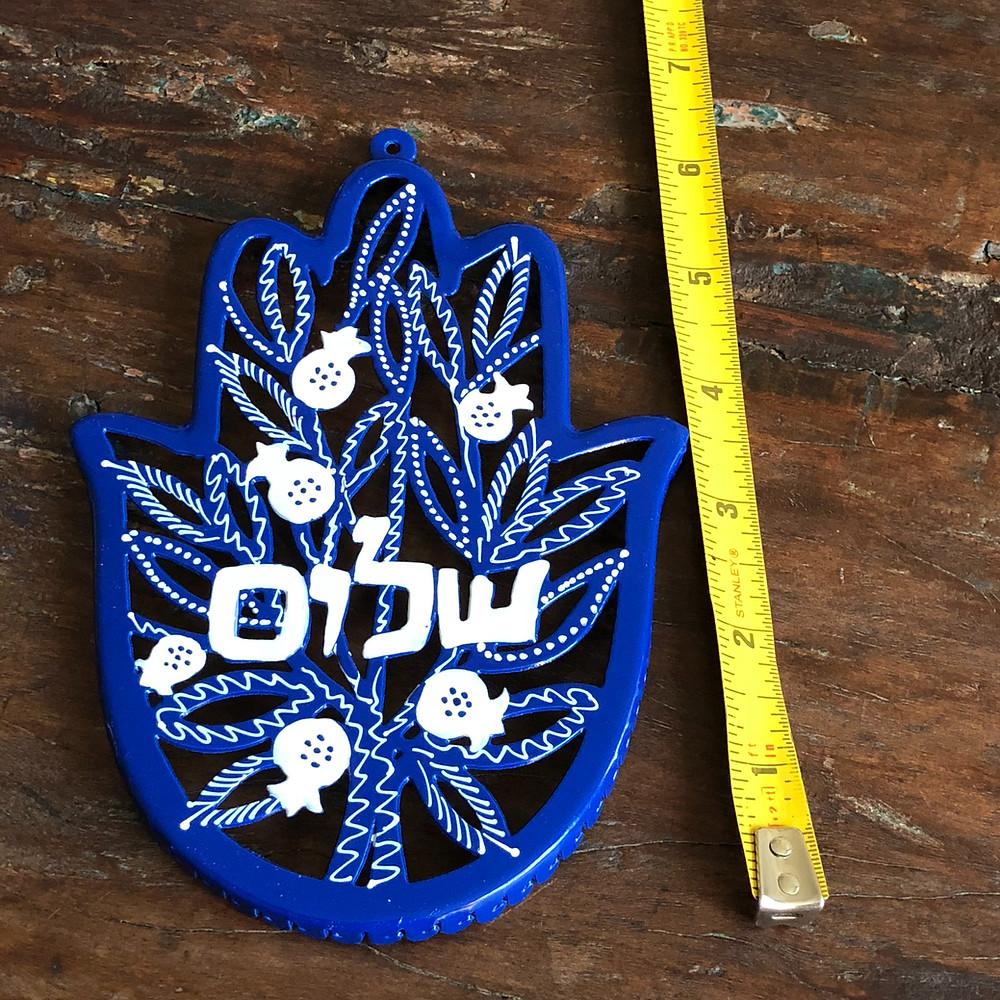 Hamsa wall hanging blue Shalom Peace