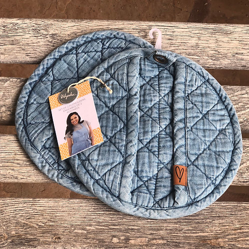 Pot holders soft washed denim by Ayeesha Curry