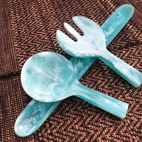 Aqua resin serving pieces bundle