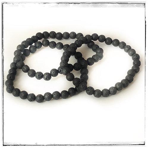 Lava bead bracelets set of 3