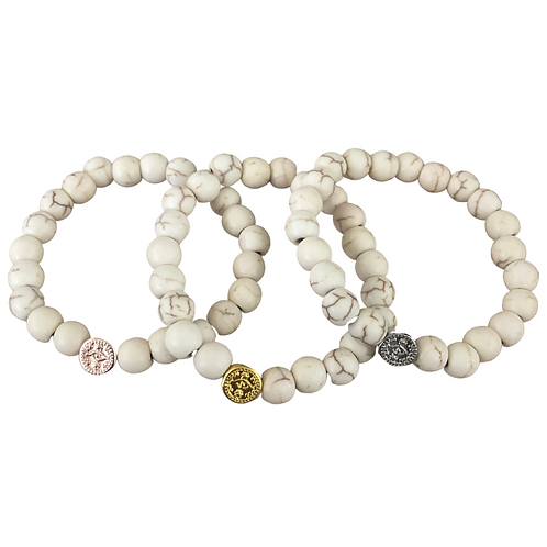 3 in 1 Evil-Eye Pendant and Natural Cream Howlite 8mm Stretchy Stone Bracelets