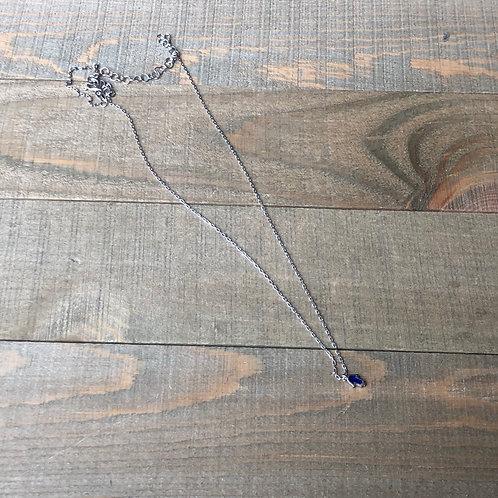 Tiny silver hamsa necklace dark blue