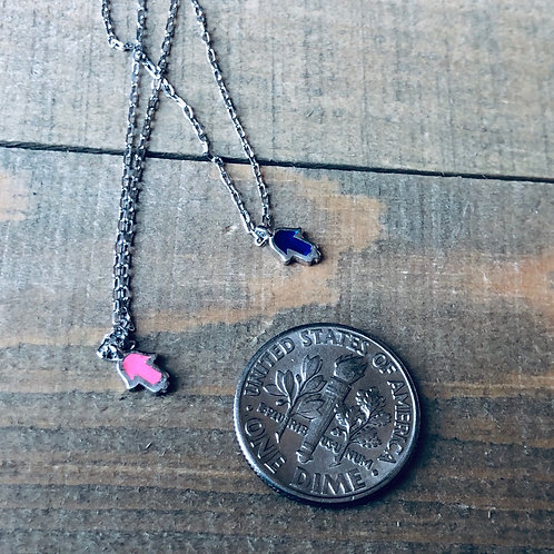 Tiny silver hamsa necklace pink