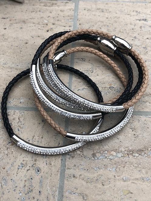 Bracelet woven chord, bling and magnetic close