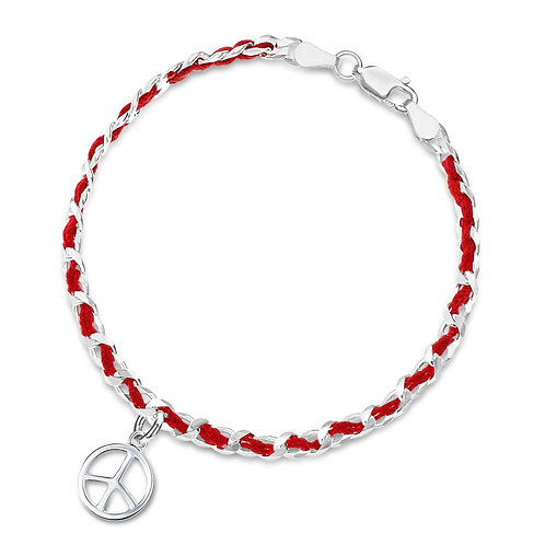 Sterling Silver with Red String and Peace sign pendant