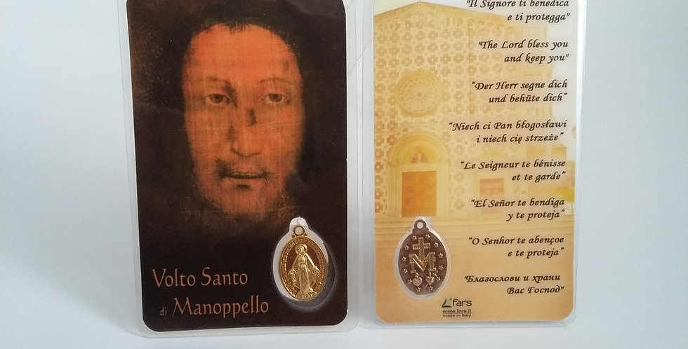 Plastic image of the Volto Santo with Miraculous Medal