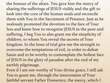 PRAYER FOR THE BEATIFICATION OF THE SERVANT OF GOD PADRE DOMENICO DA CESE.
