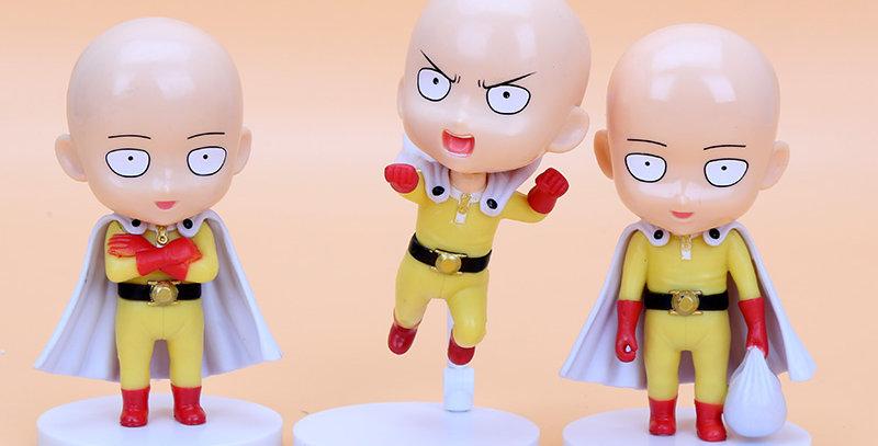 One Punch Man Miniatura Gashapon Saitama Um Soco na Cara 3 peças
