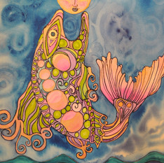 Pink Gold Fish Moon