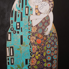 Eclipse Moon Beings - inspiration 'The Kiss by Klimt'