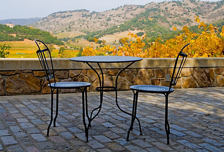 Tables and chairs outside the winery in