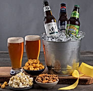 Sierra Nevada Pale Ale, Grey Lady Ale by Cisco Brewers & Sam Adams Boston Lager plus 3 snacks