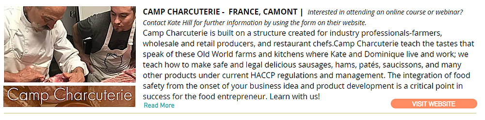 Camp Charcuterie - France - Classes for Industry Professionals
