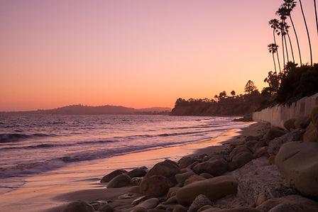 A pink sunset along the coast of Santa B