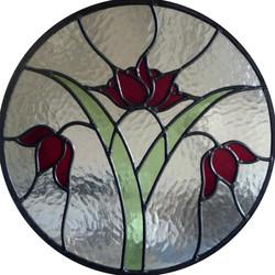 circular red flowers