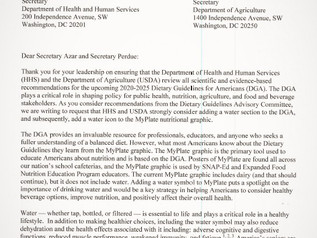 Congress to Agencies: Put Water on MyPlate!