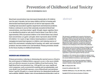 American Academy of Pediatrics Releases Policy Statement on the Prevention of Childhood Lead Toxicit