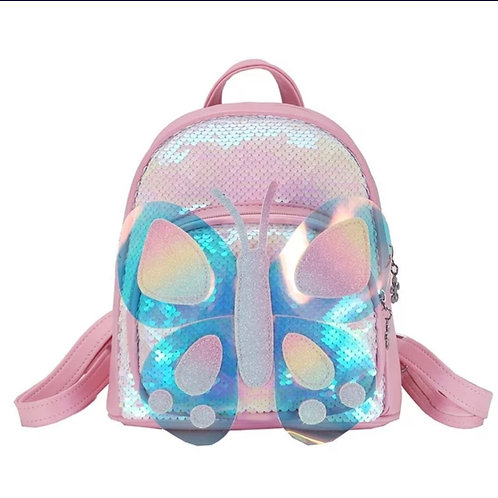 Pink Butterfly Junior Sequined Backpack with Little Beauties Keyring