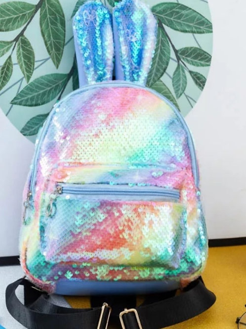 Rainbow Bunny Ears Sequined Junior Backpack with Little Beauties Key Ring