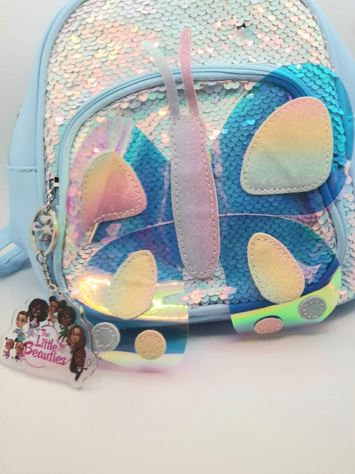 Blue Butterfly Junior Sequined Backpack with Little Beauties Key Ring
