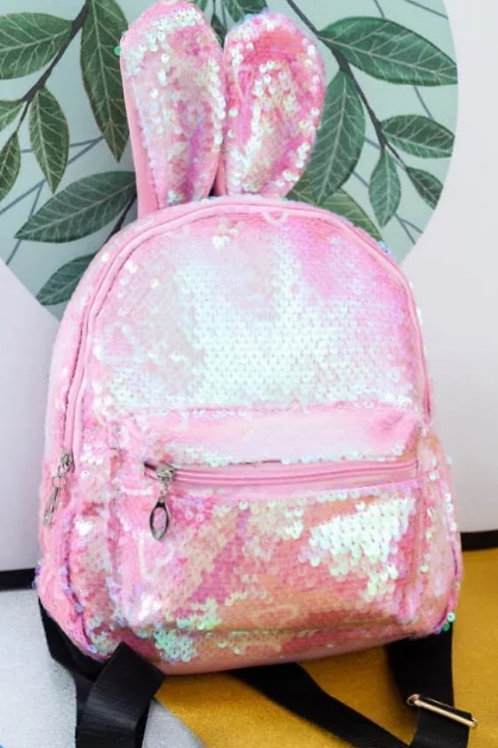 Pink Bunny Ears Junior Sequined Backpack with Little Beauties Keyring