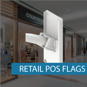 Retail POS flag pole set fitting