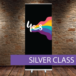 Silver class pull-up banner