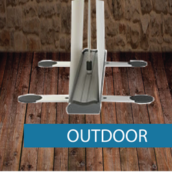 Outdoor pullup banner base and media