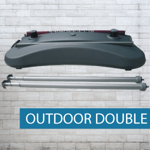 Outdoor pull-up banner base and pole