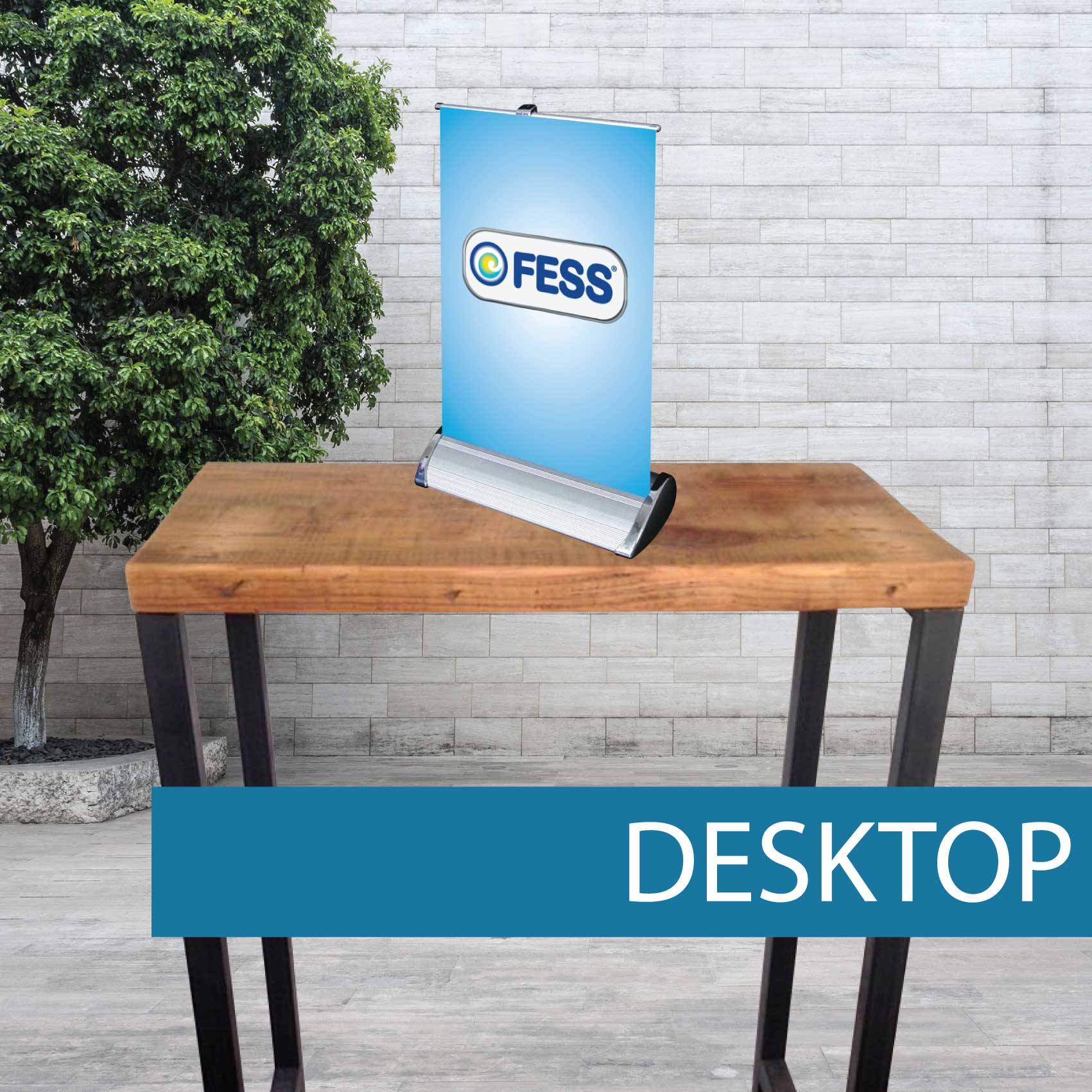 Desktop pull up banner