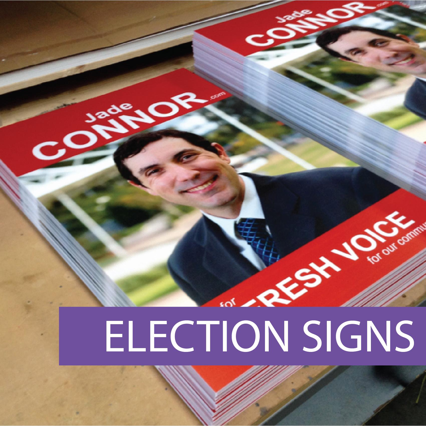 Electoral campaign signs