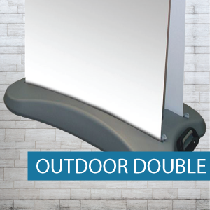 Outdoor pull-up banner base and media