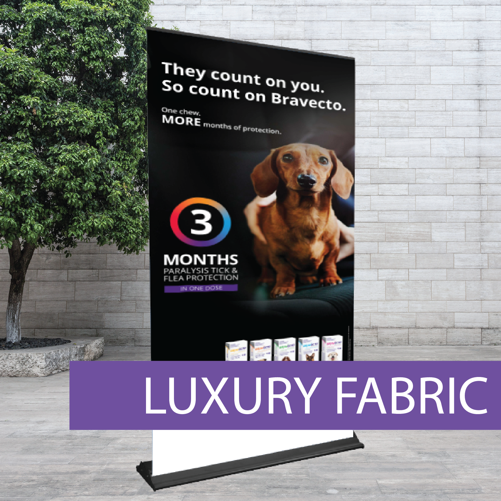 Luxury fabric roll-up banner
