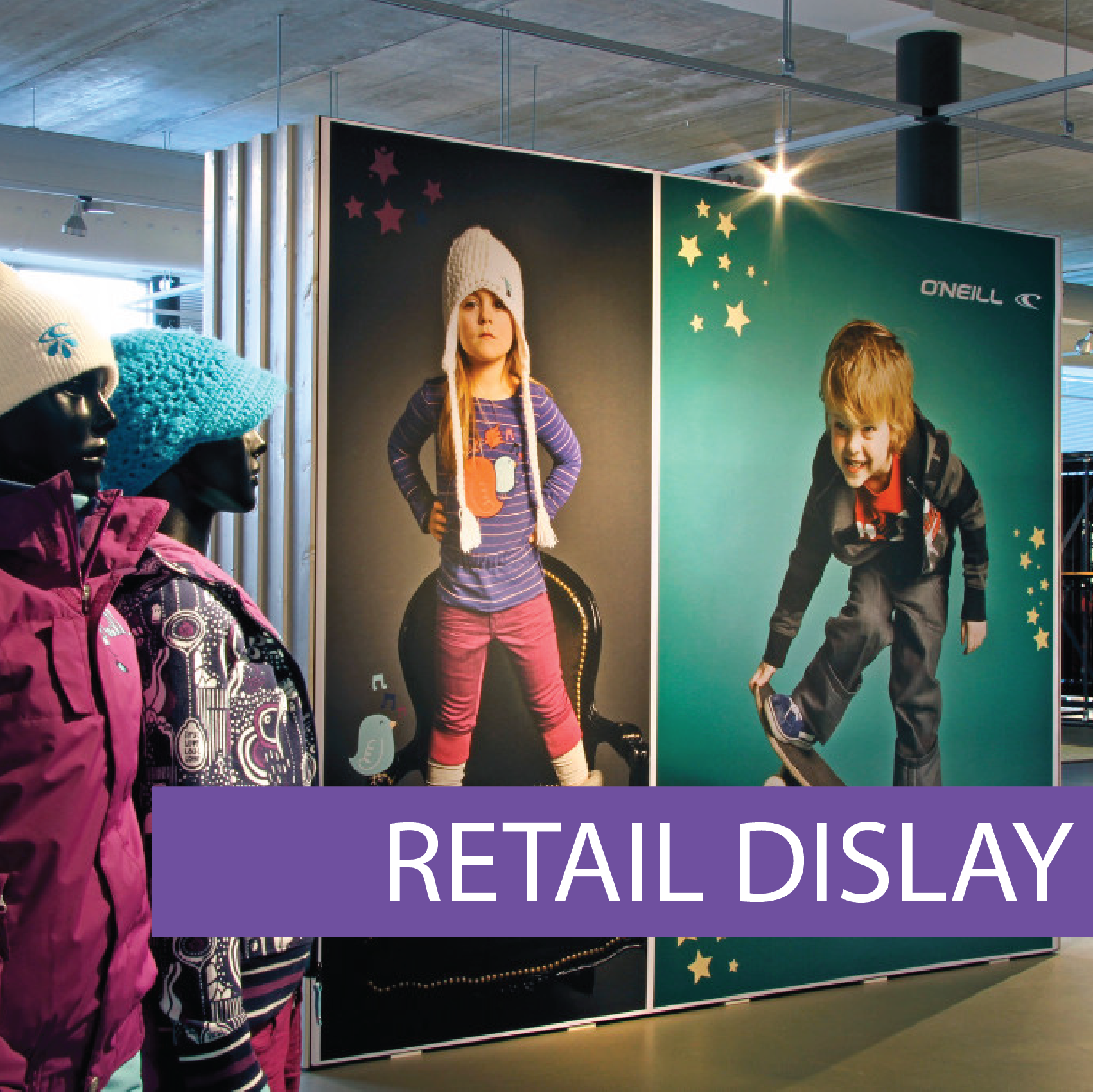 Frameless retail displays