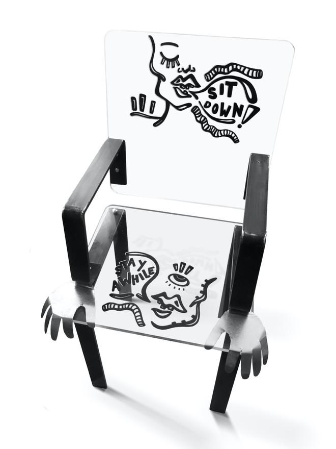 final built chair made from silkscreened acrylic, steel and sheet metal