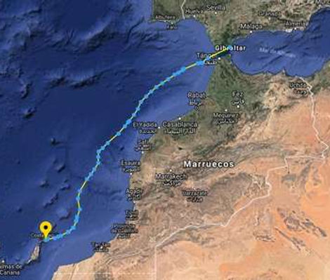 Track original de la primera etapa del cruce Atlántico entre el Estrecho y Canarias