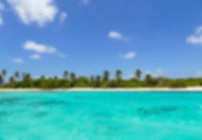 Infinita playa de arna blanca con cocoteros en tus vacaciones en barco velero por Bocas del Toro, Panamá