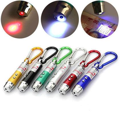 Linterna UV, laser y led blanco - 3 en 1