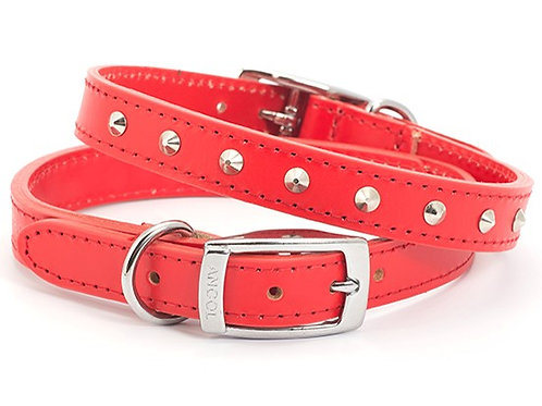 Sewn Studded Collar Red Small