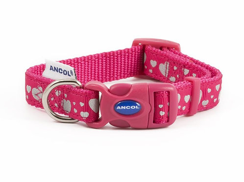 Hearts Pink Reflective Collar XS