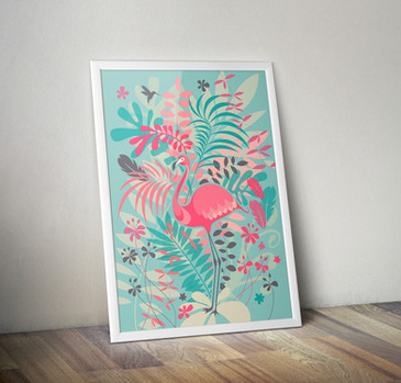 Illustration Flamant Rose