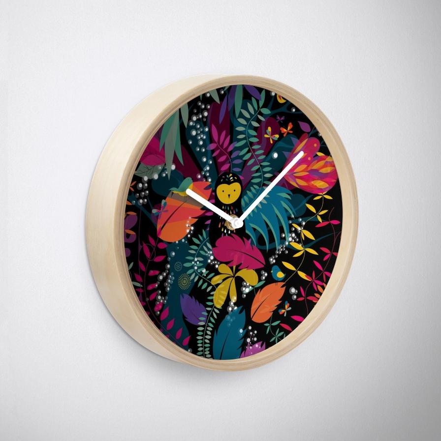 """Horloge """"Une nuit sous l'œil de la chouette"""""""