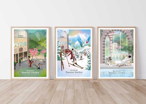 Séries d'affiche Monsieur Aurélien. Univers illustré créé pour Monsieur Aurélien (Épicerie fine - Confiserie - Salon de Thé situé au Mont Dore)